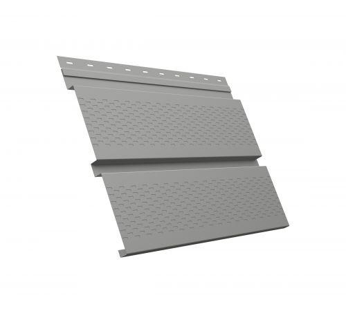Металлический софит Квадро брус с перфорацией 0,45 PE RAL 9006 бело-алюминиевый