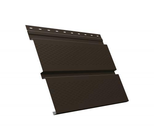 Металлический софит Квадро брус с перфорацией 0,45 PE RR 32 темно-коричневый
